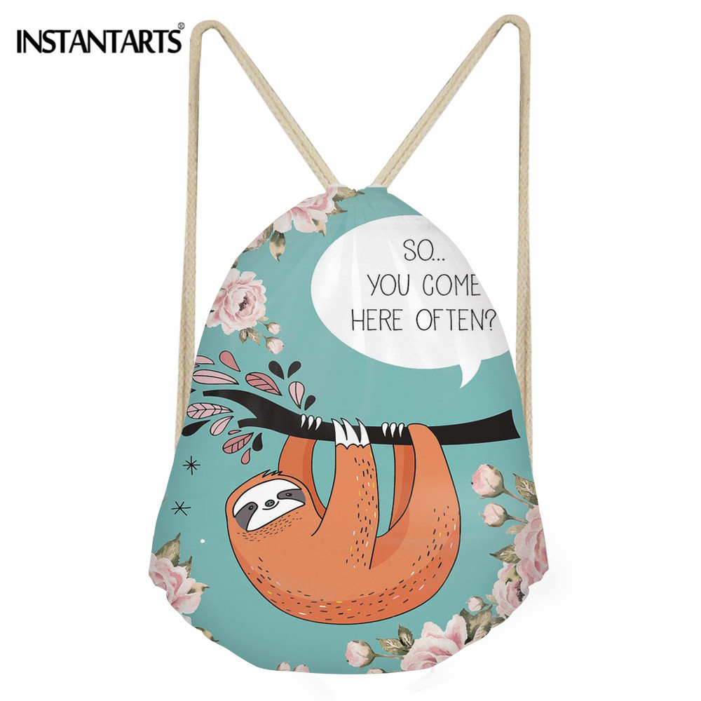 INSTANTARTS Sloth Talk Print Waterproof Drawstring Bag Portable Beach Backpack Travel Pouch Double Straps Durable Ball Pockets