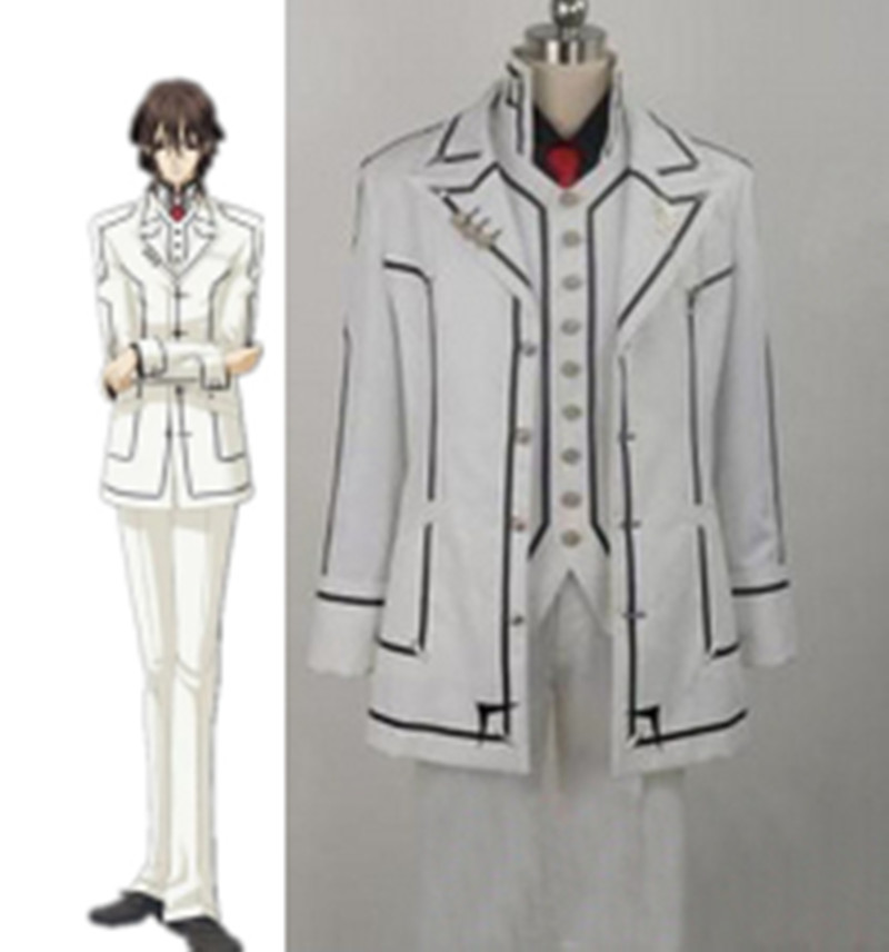 Anime Vampire Knight Kuran Kaname Cosplay Costume White/Black Uniform Full Set Custom Made