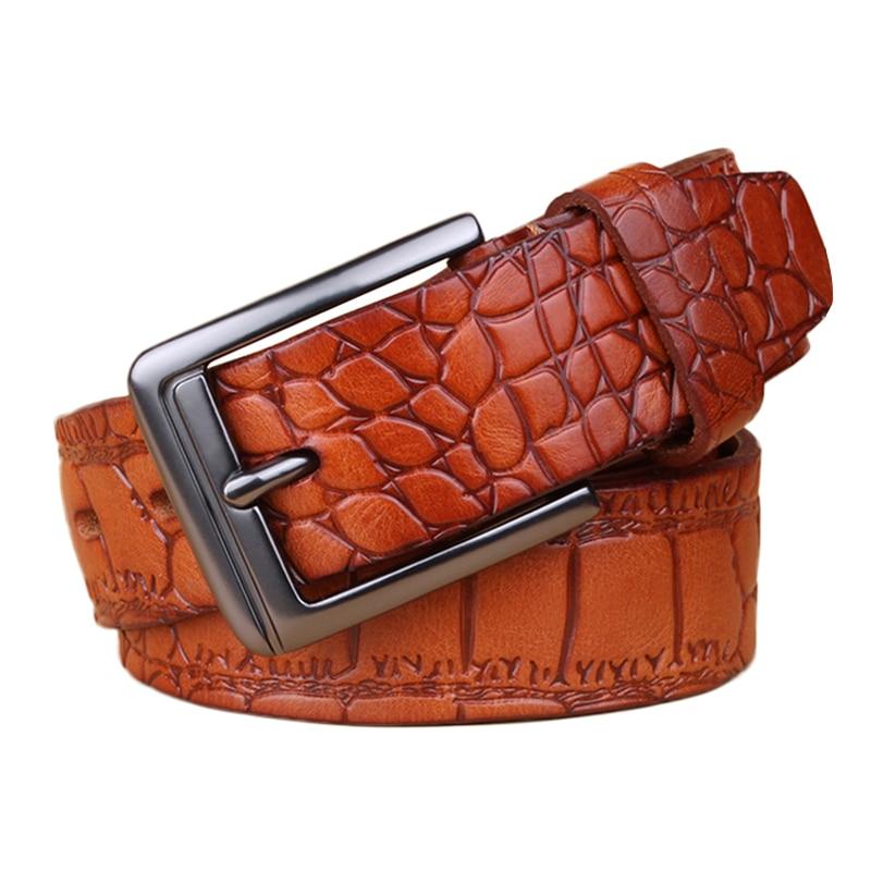 3PCS / LOT SINGYOU Men Belt Crocodile Skin Print Business Real Leather Belt Jeans Pants Waist Strap Top Quality Designer Belt