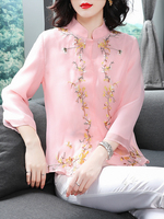 2019 new traditional chinese shirt clothing for women embroidery qipao elegant blusa vintage cheongsam top plus ladies clothes