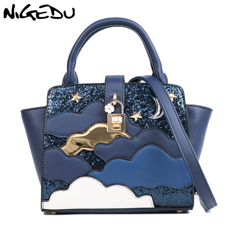 NIGEDU handbag women Shoulder bag small Fashion Patchwork Sequins girls Messenge
