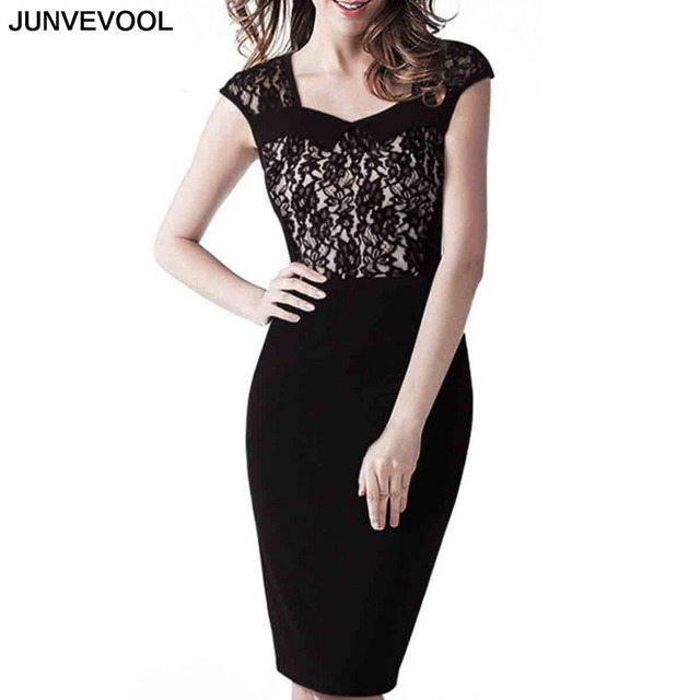 b7b4936ce45 Elegant Lace Dress Sexy Party Women Stylish Dresses Knee Length Sleeveless  Clothing Square Collar Splice Bodycon