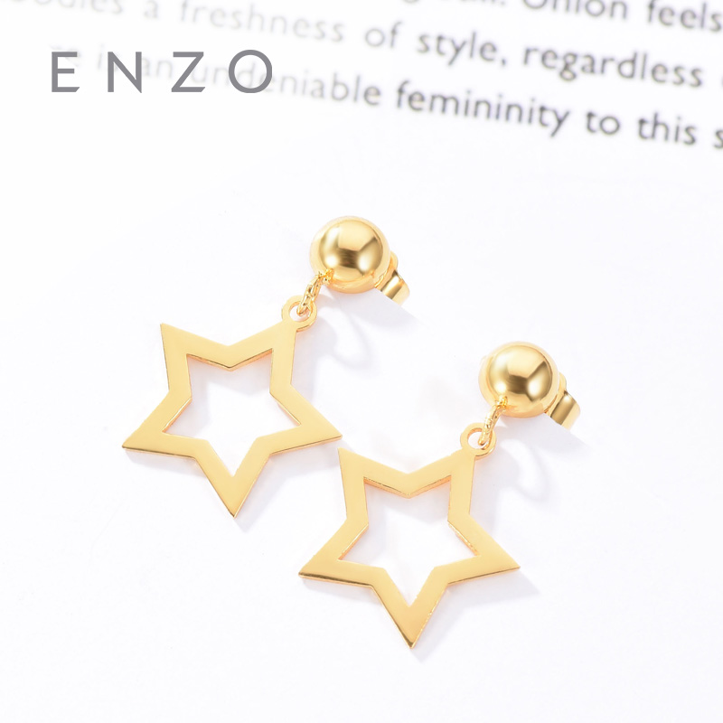 Enzo Real 18K Gold Earring Star Jewelry Women Miss Girls Gift Party Female Stud Earrings Solid Hot Sale New Good Trendy real 18k gold jewelry heart earring women miss girls gift party female ear wire drop earrings solid hot sale new good trendy