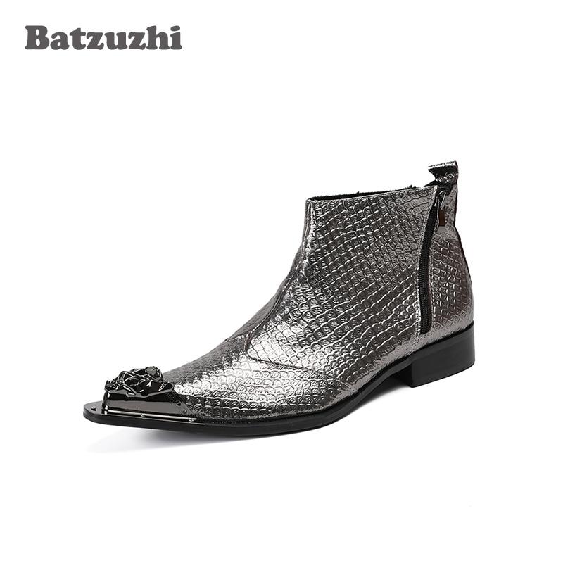 купить Batzuzhi Luxury Italian Type Men Boots Fashion Leather Boots Men Ankle Party and Wedding Boots for Men Botas Hombre! Big Size 46 онлайн