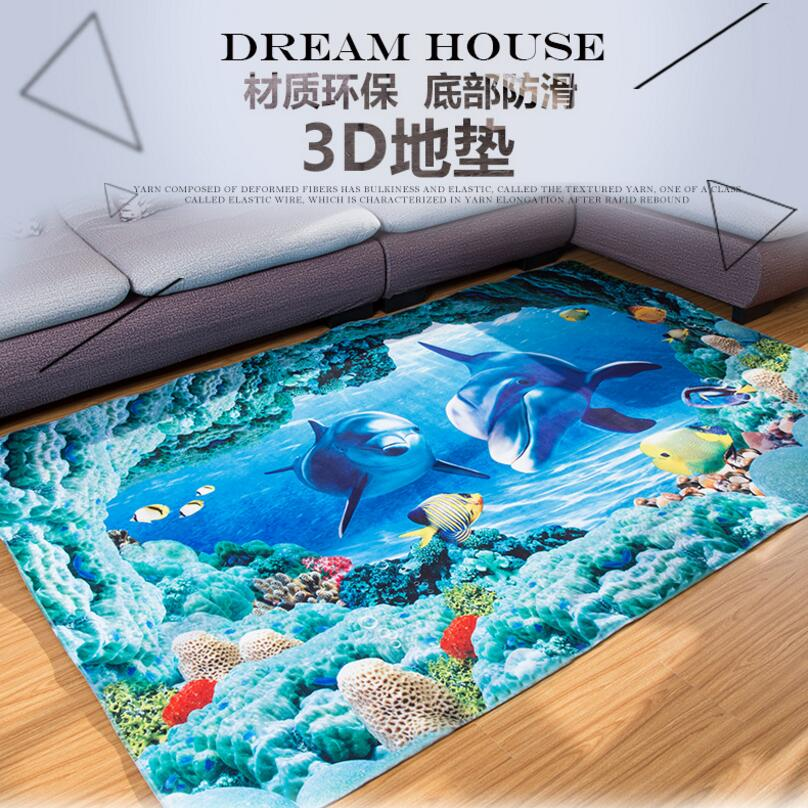 Anti-Skid Cartoon Dolphin 3D Printing Kids Bedroom Carpet Living Room Study Rug Tea Tabl ...