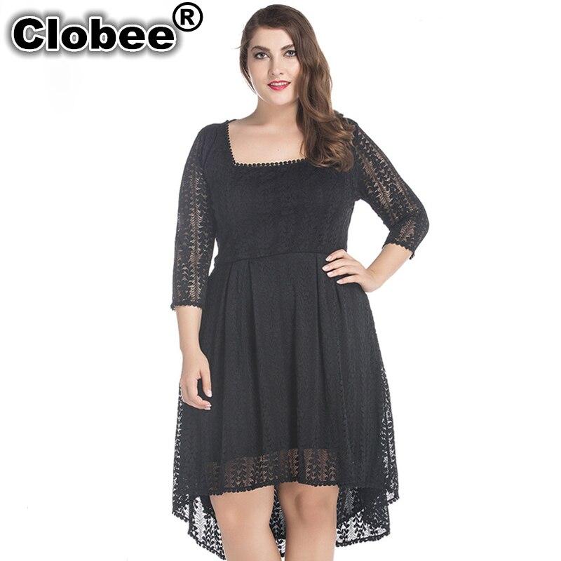b01e58aad0c Sexy Women s Plus Size Sweet Lace Dress 6XL 7XL Big Size Clothing Women  Robe 2018 Summer 8xl 5xl Flare Skater Elegant Sleeve