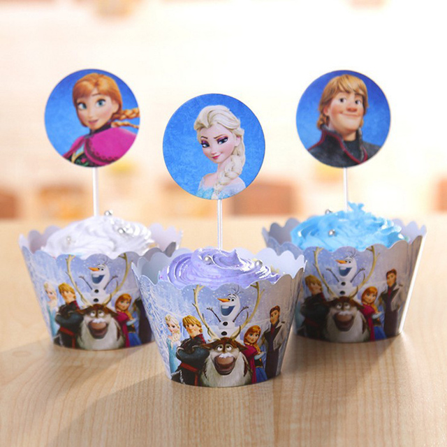 Snow Queen Elsa Anna Cupcake Box Wrappers Toppers Picks Kids Birthday Party Supplies Event