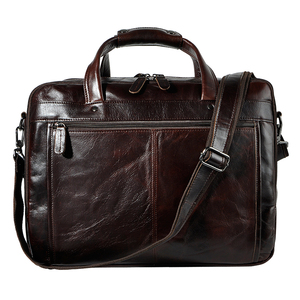 "Image 3 - Top Quality Men Real Leather Antique Style Briefcase Business 15.6"" Laptop Cases Attache Messenger Bags Portfolio B1001"
