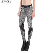 Leimolis 3D printed Death lotus flower harajuku gothic sexy plus size high waist push up fitness workout leggings women pants