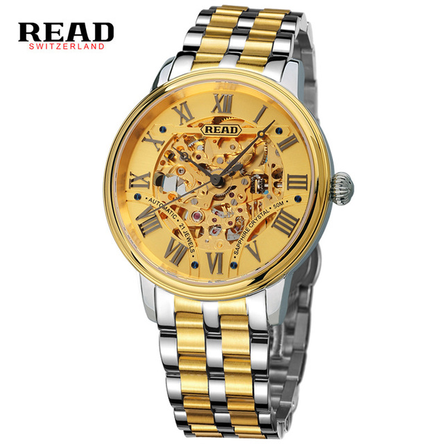 где купить Original READ Men Mechanical Watches Men Luxury Brand Full Steel Waterproof 50m Business Automatic Wristwatches For Men R8042 по лучшей цене