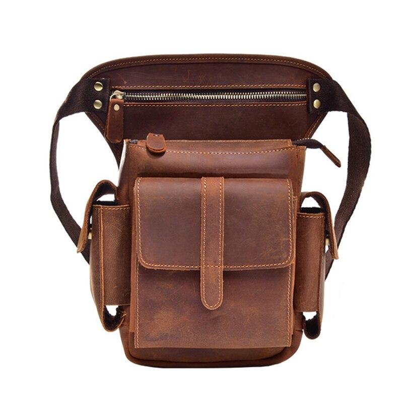 Leather Men Crazy Horse Messenger Crossbody Shoulder Bags Travel Motorcycle Riding Pack Waist Belt Thigh Drop Leg Bag