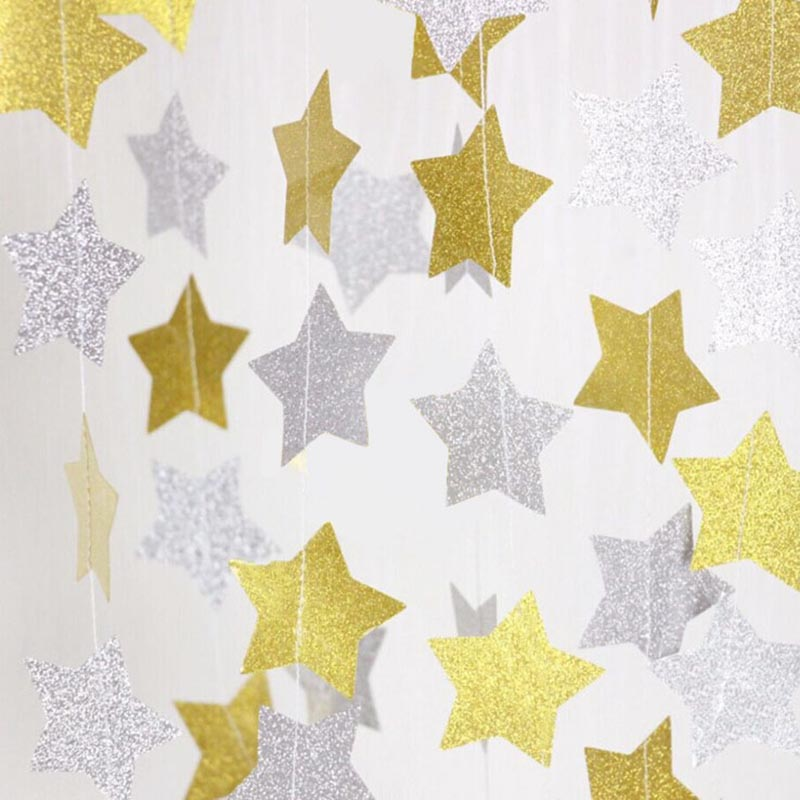 4 Meters Glitter Gold Silver Stars Paper Garland for Wedding Birthday Party Decoration Backdrop Photo Prop Christmas Tree Decor-5