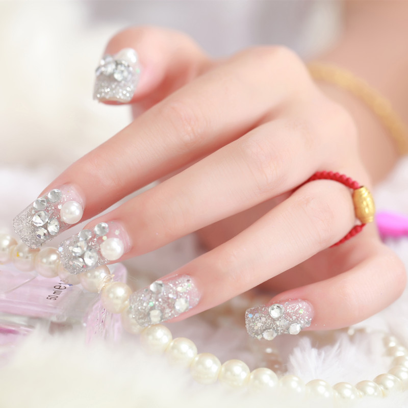 ΞSo Fashion 24 PCS Shining Rhinestone False Nails Transparent Lace ...