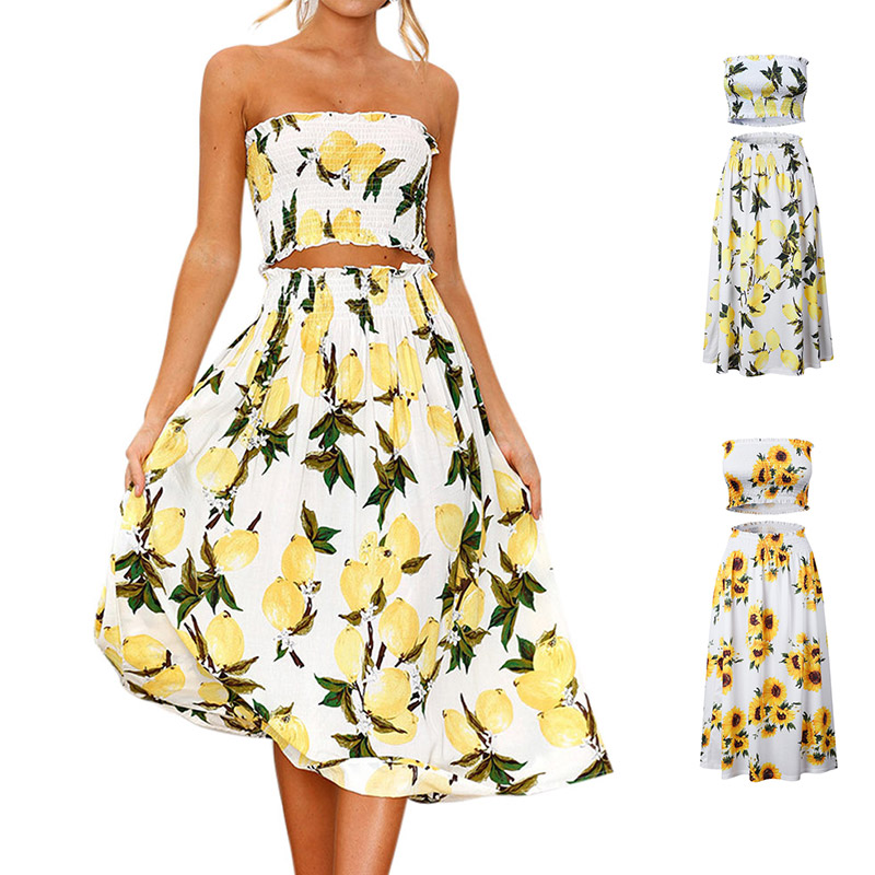 Summer Women Sexy Crop Top Long Skirt Floral Printed Off Shoulder Casual 2 Piece Dress Set -MX8