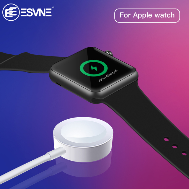 ESVNE Беспроводной Зарядное устройство для наручных часов Apple watch 1/2/3/4 USB быстрой беспроводной зарядки кабель длиной 1 м