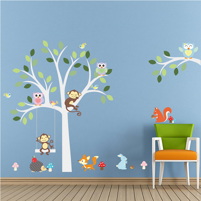 Free Shipping 2pc Set Decorative Removable 3d Monkey Tree Kids Wall Stickers For Bedroom Furniture