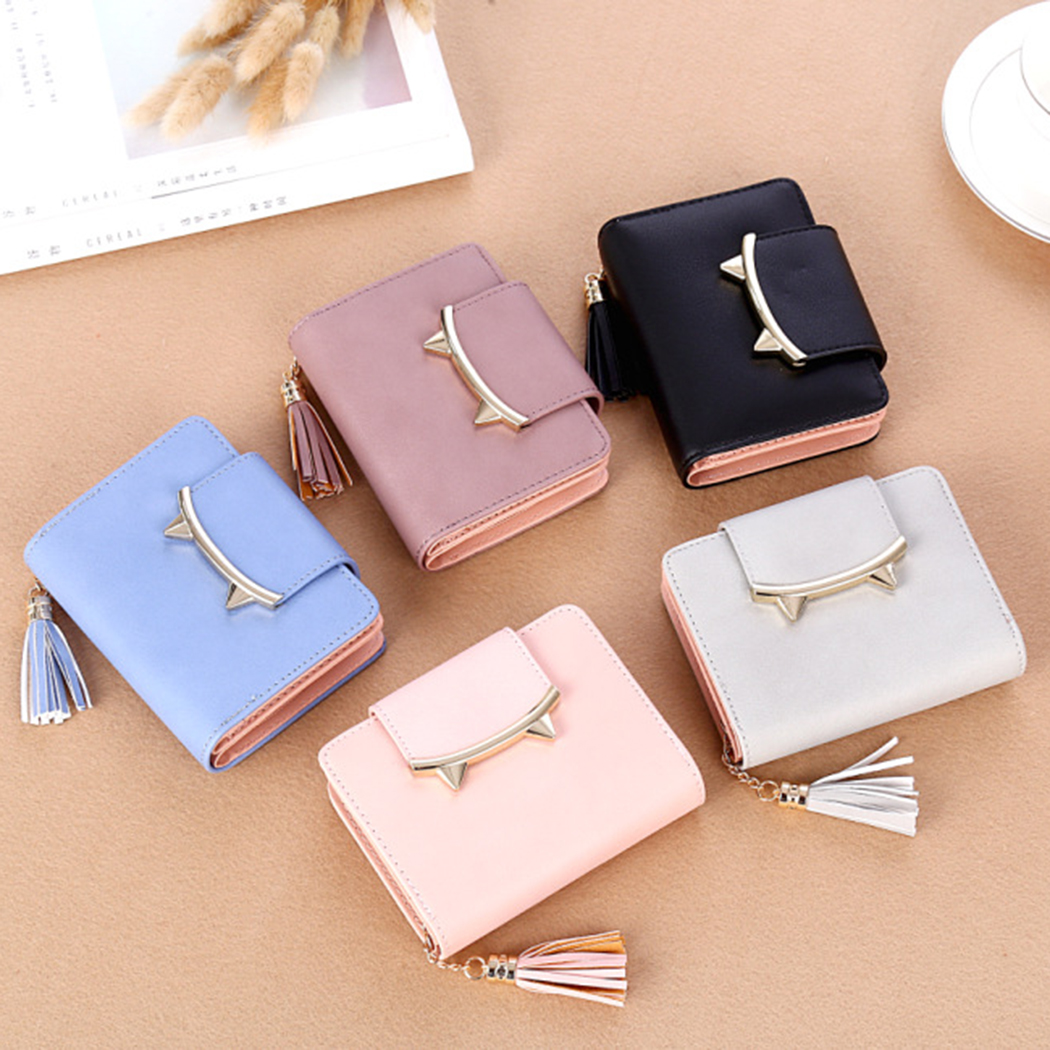 Cute Cat Anime Leather Mini Wallet Clutch Female Purse Coin Card Holder Bag Women Trifold Slim Small Money Bags Baellerry