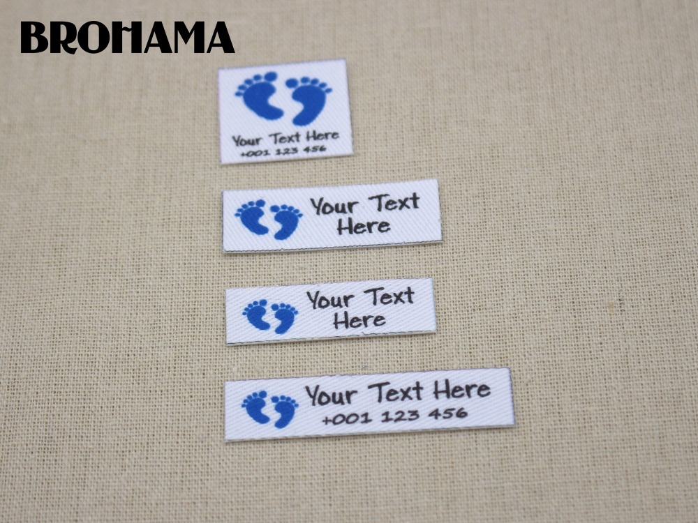 Custom name label, childrens clothing label, ironing label, boy and girl tag, Customize color, Boy footprints (L24)