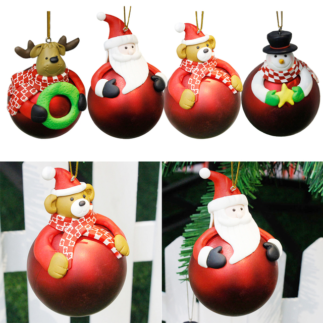 doll toy christmas tree decoration christmas polymer clay ball santa claus festival party home baubles new - Santa Claus Christmas Decorations