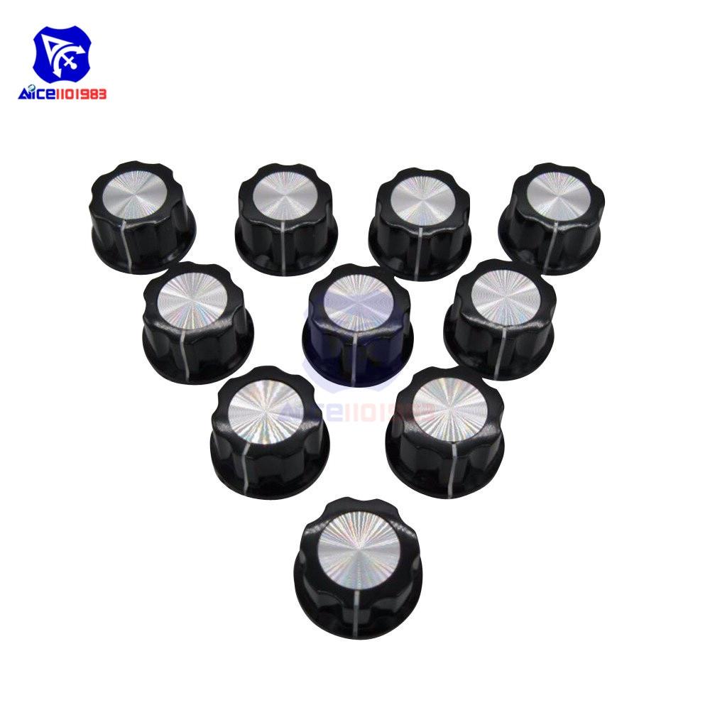 2pcs Adjustable Turn 16mm Top 6mm Shaft Insert Dia Potentiometer Rotary Knobs