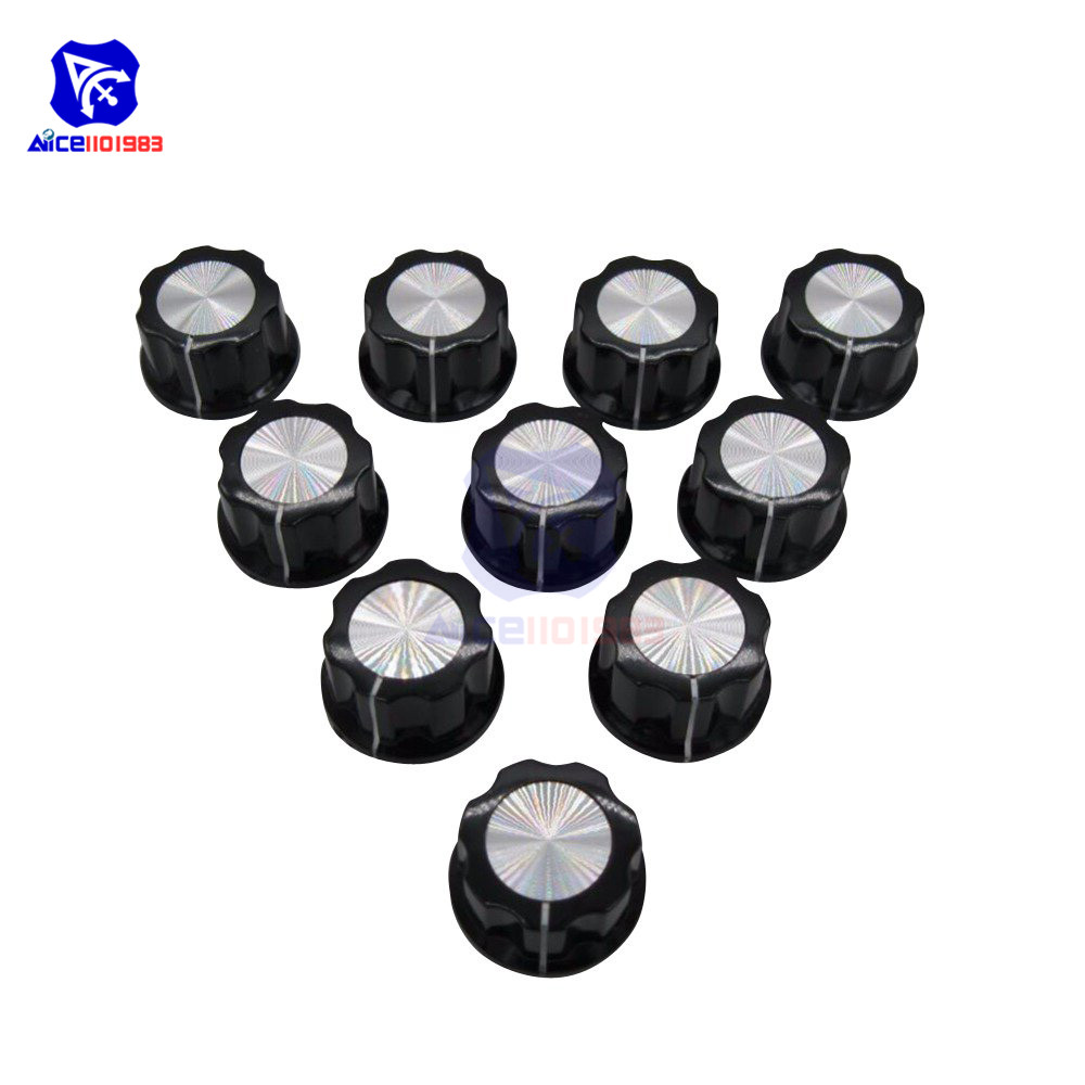 10PCS/Lot Insert Dia. 6mm Knurled Shaft 16mm Width X 12mm Height Rotary Potentiometer Cap Switch Control Knob
