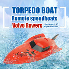 Mini RC Boats Speed Remote Control Torpedo Boat 2.4G 4CH Speedboat Model High Powered 2.4V Toy Boat Plastic Model Outdoor Toy