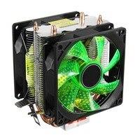 LED 2 Caloduc Calme CPU Cooler Radiateur Double Ventilateur Pour LGA 1155 775 1156 AMD 12 V Double CPU Cooler Calme Puissant Ventilateur Pour AMD