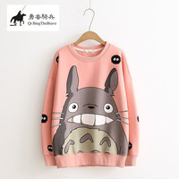 New Fashion Thicken Women Cartoon Totoro Hoodie Harajuku 3d Pullover Tops Autumn Winter Long Sleeve Fleece