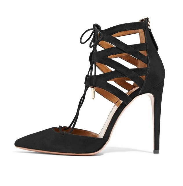 Amourplato Women's 100mm Pointed Toe Lace Up Sandals Hollow Carved Cut Out Ankle Wrap Sexy Lady High Heels Party Dress Shoes