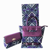 3pcs/set Hot sale purple design 6Y African veritable wax fabric with cotton wax bag and purse set for lady FB9 4