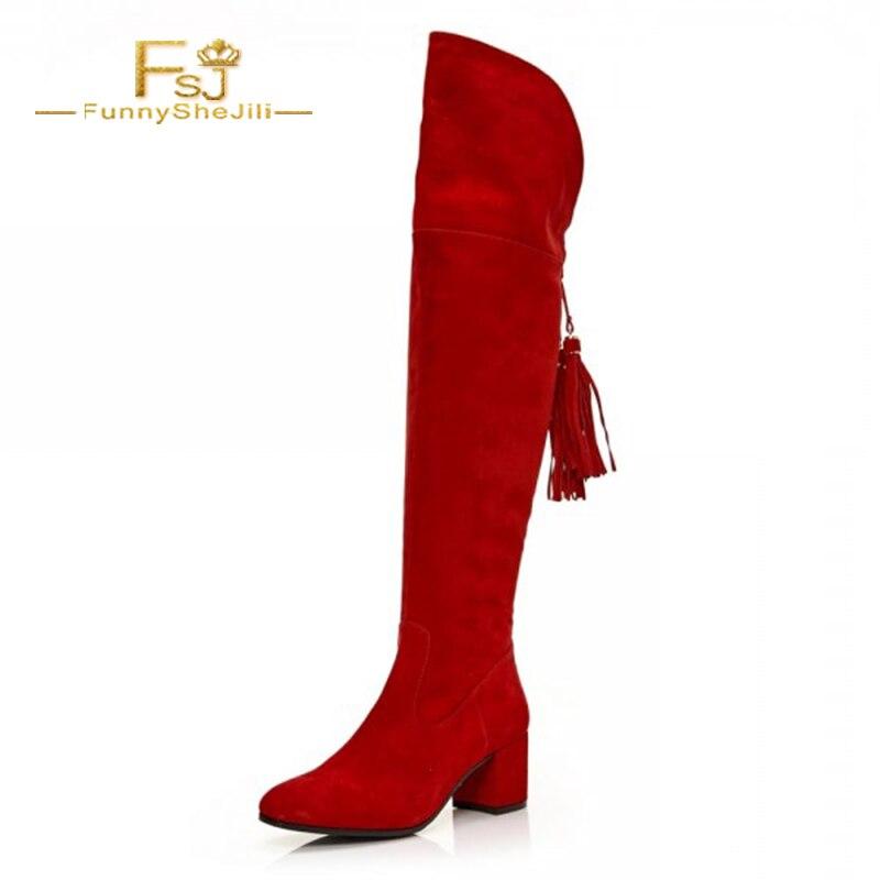 Moda Cm Flock Gruesos Rojas Fringe Largas Rodilla Tacón 6 Mujer Zapatos Borlas Botas Fsj02 Cuadrado Más De La Fsj fsj01 Zipper Tacones Bota xZxHvqY