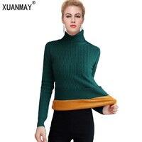 Winter 2018 New Warm Turtleneck Sweater Thickening Plus Velvet Jacket Korean Fashion Velvet Bottoming Shirt Pullover