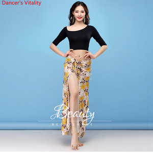Image 1 - New Dance Wear Women Class Wear Silk Ice Fabric Stretchy Off shoulder Sleeves Classic Belly Dance Skirt Costume Set