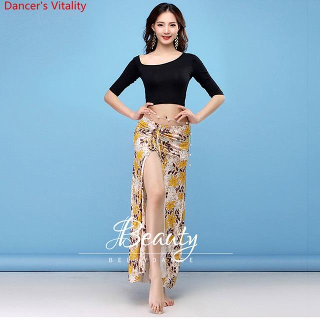 New Dance Wear Women Class Wear Silk Ice Fabric Stretchy Off shoulder Sleeves Classic Belly Dance Skirt Costume Set