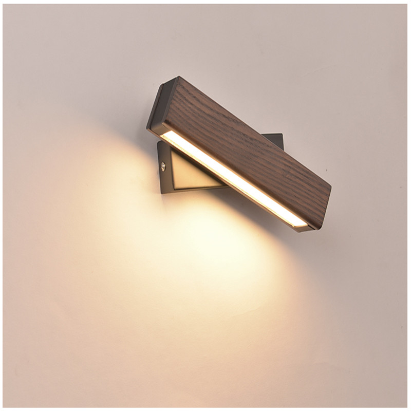 Nordic Bedroom Bedside Wall Lamp Solid Wood Aisle Simple Modern Creative Rotating Light Reading LED Wall