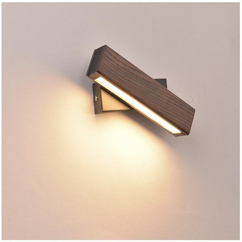 Nordique chambre chevet applique en bois massif allée Simple moderne créatif rotatif lumière LED de lecture applique murale livraison gratuite