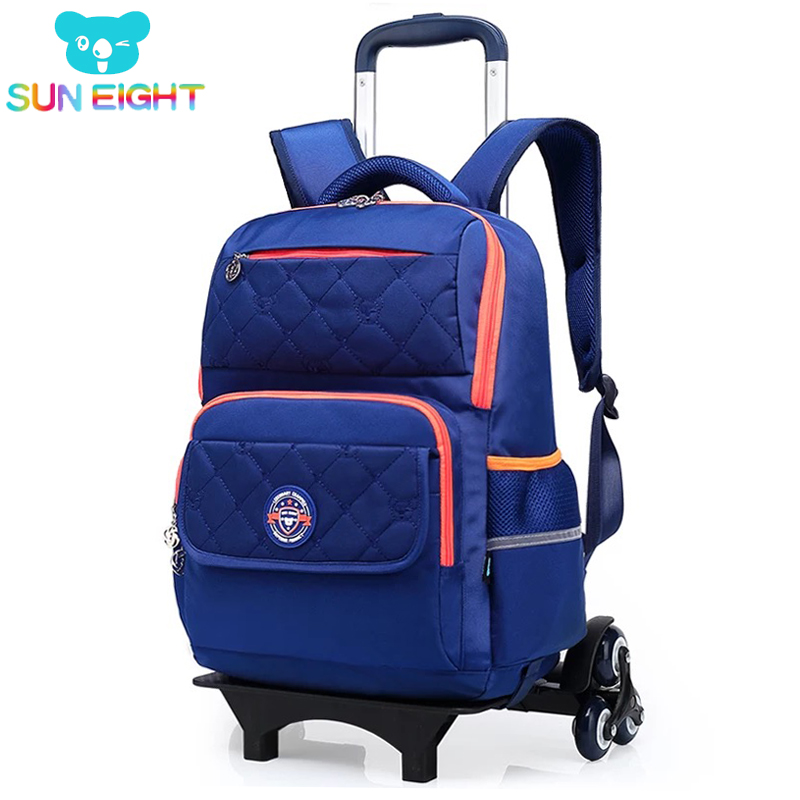 SUN EIGHT Wheeled Backpack For Girls/Boy Trolley School Bags Wheeled Bag Kid Luggage 6 Wheels To Climb Stairs School Backpack children trolley school bags removable backpack waterproof travel luggage bag with 6 wheels rolling for girls can climb stairs