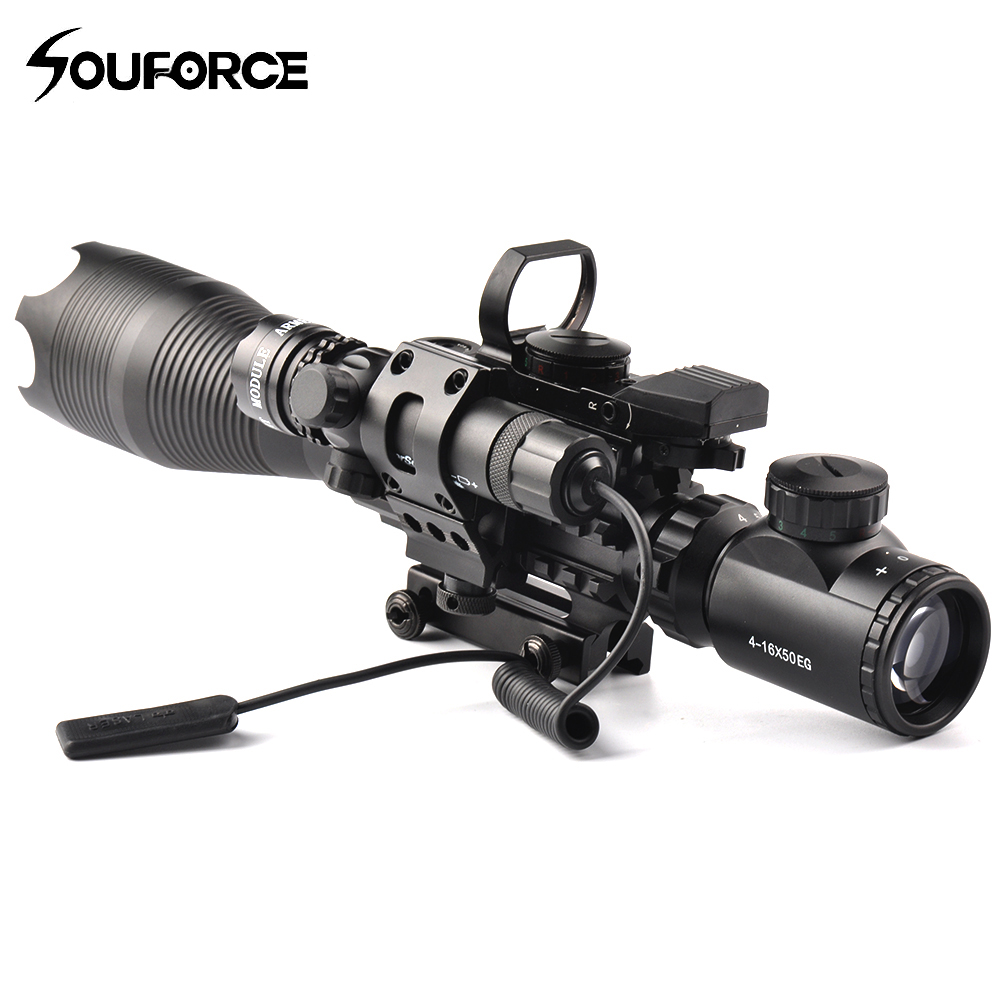 4-16X50EG Rifle Scope + Red/Green Laser Comb + HD107 Micro Holographic Dual Illuminated Dot Sight for Hunting Rifle Gun Airsoft