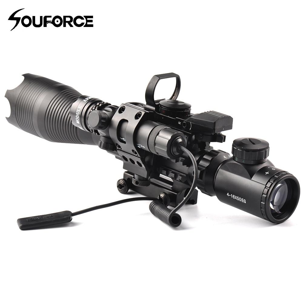 4-16X50EG lunette de visée en Set bricolage combinaison avec visée ou point rouge/vert ou Laser rouge/vert pour fusil de chasse pistolet Airsoft