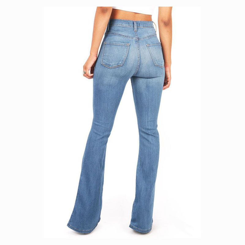 Women's Washed Fashion Jeans Flared Long Pants Hip Lift Sexy Trousers