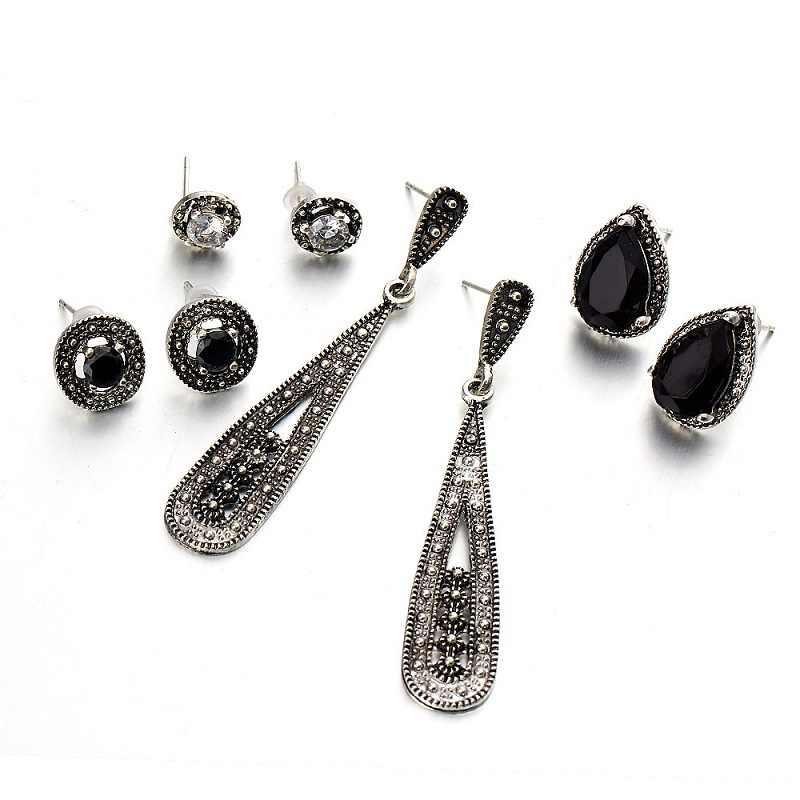 8 Design Bohemian Vintage Stud Earrings Water Drop Crystal Earrings Set for Woman Black Stone Color Geometric Round Jewelry