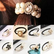 Hairban ln band/ties pearls imitation headwear ponytail korean rhinestone beads elastic