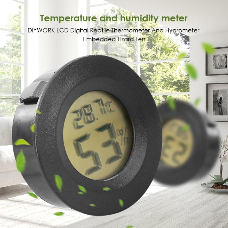 Weather Station LCD Digital Reptile Thermometer And Hygrometer Embedded Terrarium Tortoise Box Thermometer