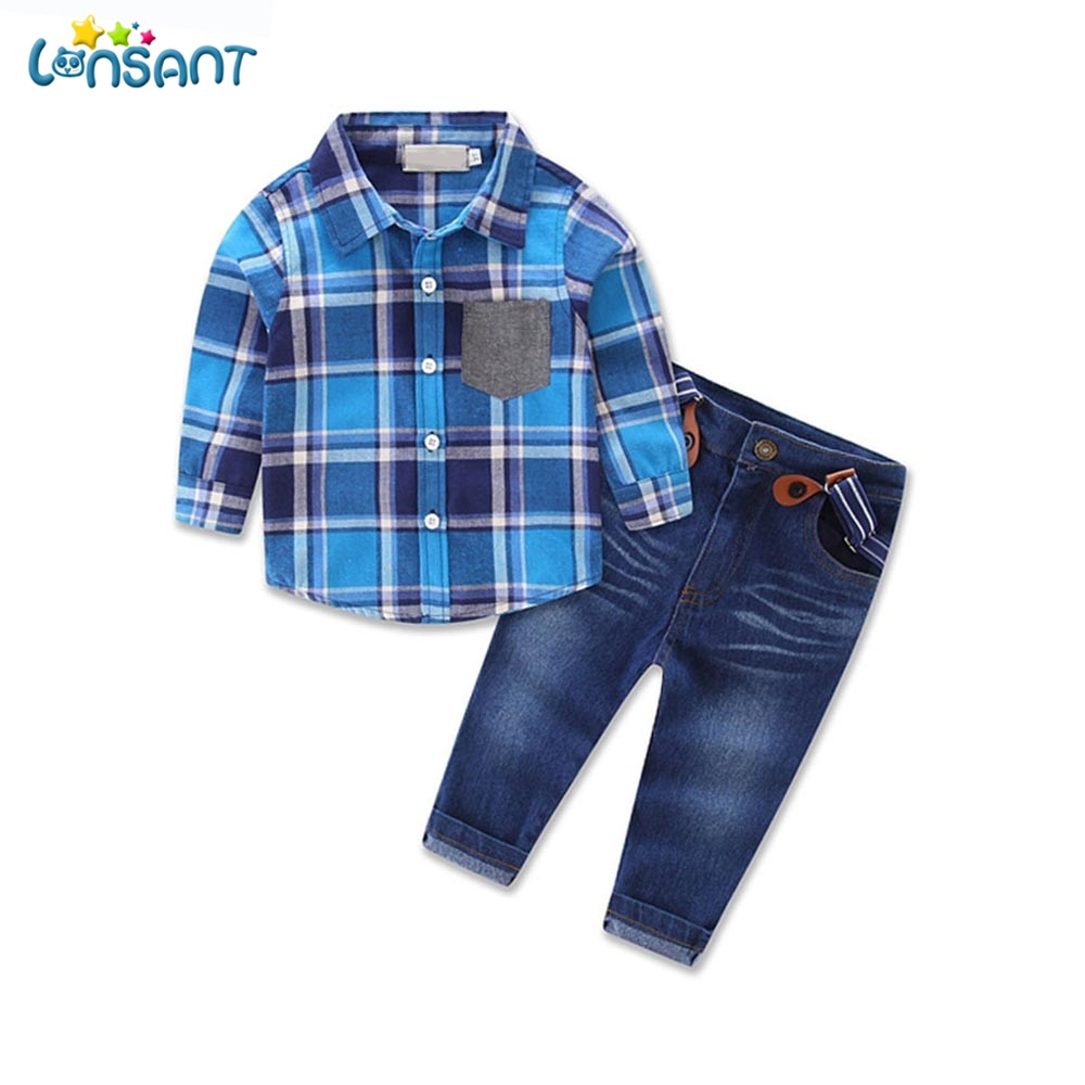 LONSANT Kids Clothes Boys Plaid Long Sleeve Shirt Denim Overalls Suit Spring Autumn Children Clothing Set Dropshipping 1-8Y autumn boys clothing set baby boys 3pcs set outfits black jacket long sleeve t shirt denim long pant children clothes boys 4