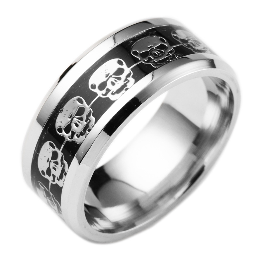 retro style steel men ring men titanium steel jewelry accessories silver skull wedding rings for women - Black And Silver Wedding Rings