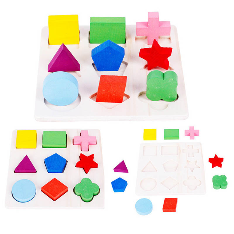 3D Shapes Wood Jigsaw Baby Kids Wooden Learning Geometry Educational Toys Puzzle Children Early Learning  Puzzles children s early childhood educational toys the bear change clothes play toys creative wooden jigsaw puzzle girls toys