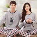 Novo Casal Pijamas Mulheres Primavera E Outono Amantes Sleepwear Bordado da Longo-luva Pijamas de Algodão Set