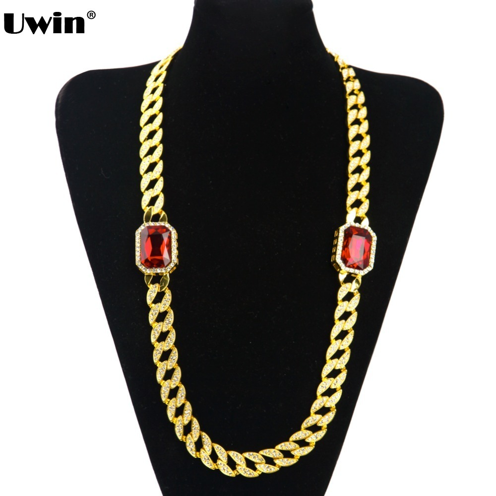 Full Iced Out Gold Color Cuban Link Radiant Red Stone Octagon Pendant Bling Bling Chain&Link Mens Necklace Cuban Chain For Mens цены