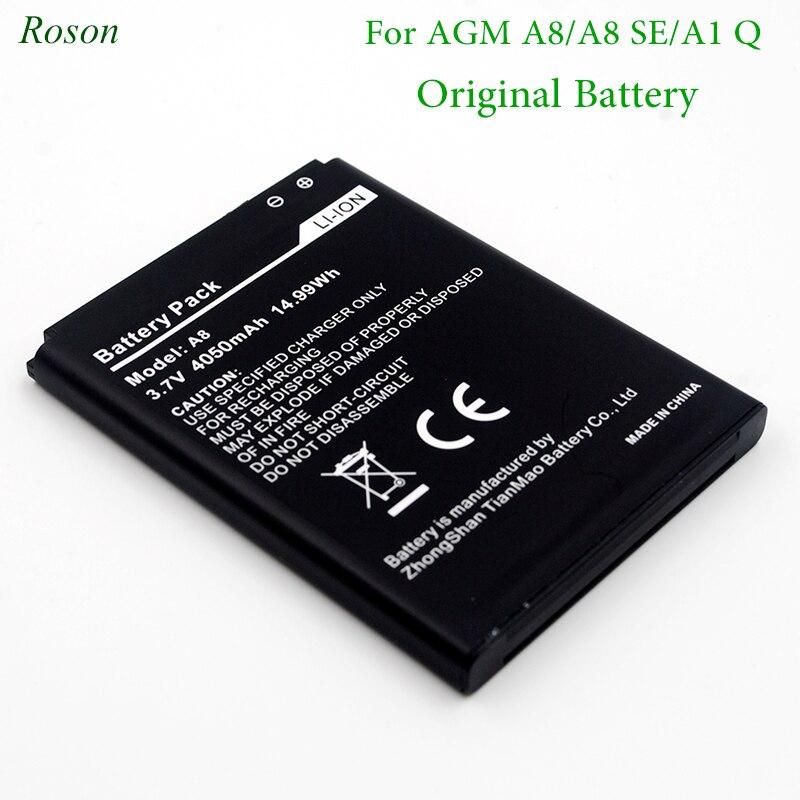 Roson Bateria Do Telefone Móvel para AGM A8 A1 Q, 4050 mah Novo backup de Baterias de Substituição Para AGM A8 SE Inteligente Celular Battey li-ion
