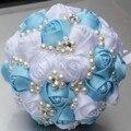 Вы Пользовательские Атласная Жемчуг Цветок Алмаз Свадебный Букет Невесты Холдинг Синий Белое Свадебное Декоративный Искусственный Свадебный Букет W274